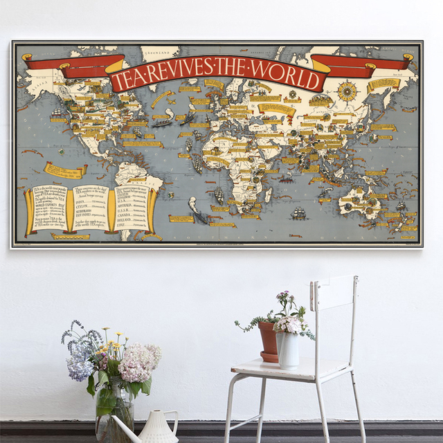 Vintage tea revives the world map painting on canvas wall art vintage tea revives the world map painting on canvas wall art painting pictures home decor for gumiabroncs Images