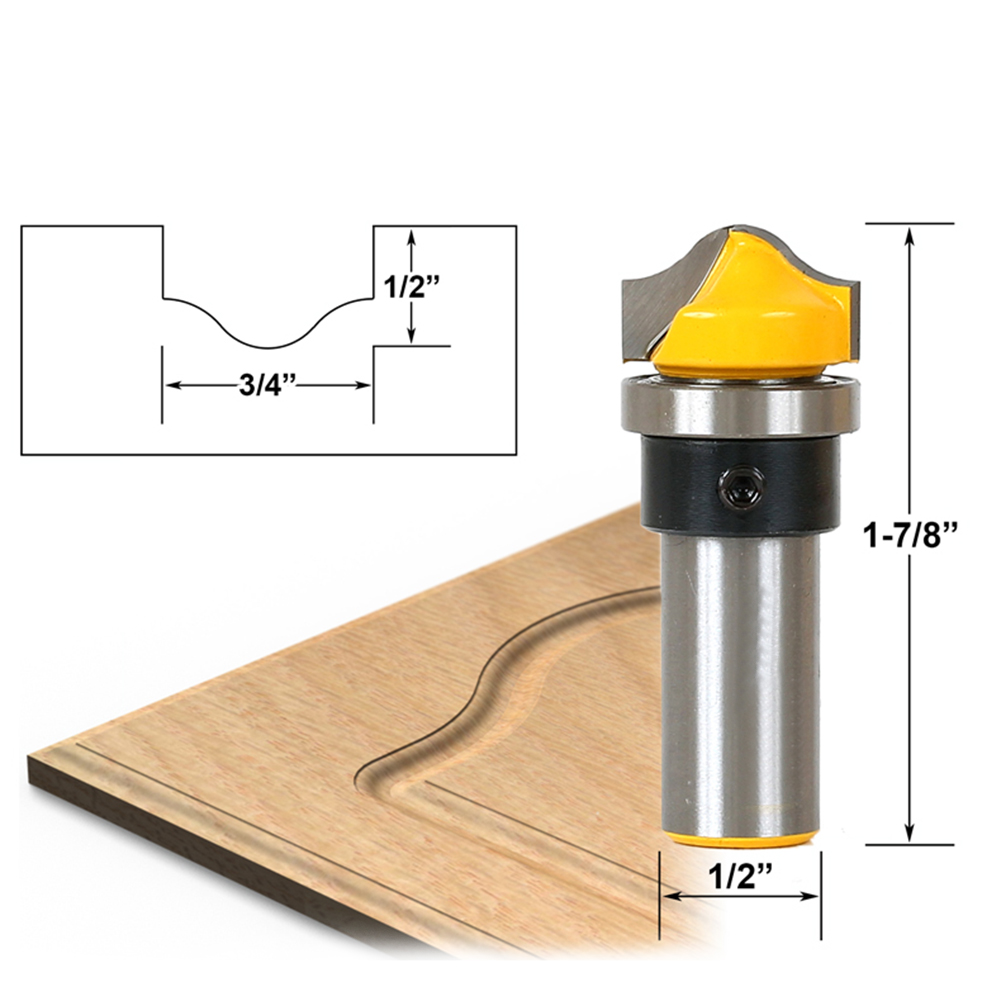 1pc 1/2 Inch Shank Woodworking Milling Cutter Trim Router Bit Carving Router Bit Woodworking Tools 1 2 inch shank hss milling cutters round nose cove core box router bit for woodworking milling tools