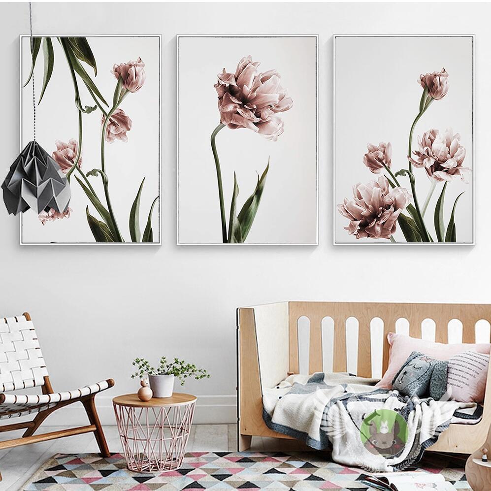 Nordic Home Decor Tulip Tela Pittura di Fiori Poster e Stampe Quadri ...