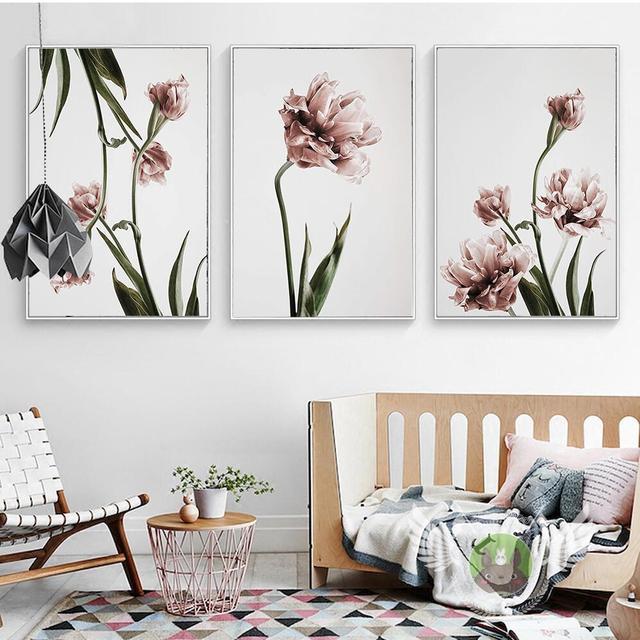 US $5.67 29% di SCONTO|Nordic Home Decor Tulip Tela Pittura di Fiori Poster  e Stampe Quadri Moderni Parete Per Soggiorno Tela Pittura A Olio di Stampa  ...