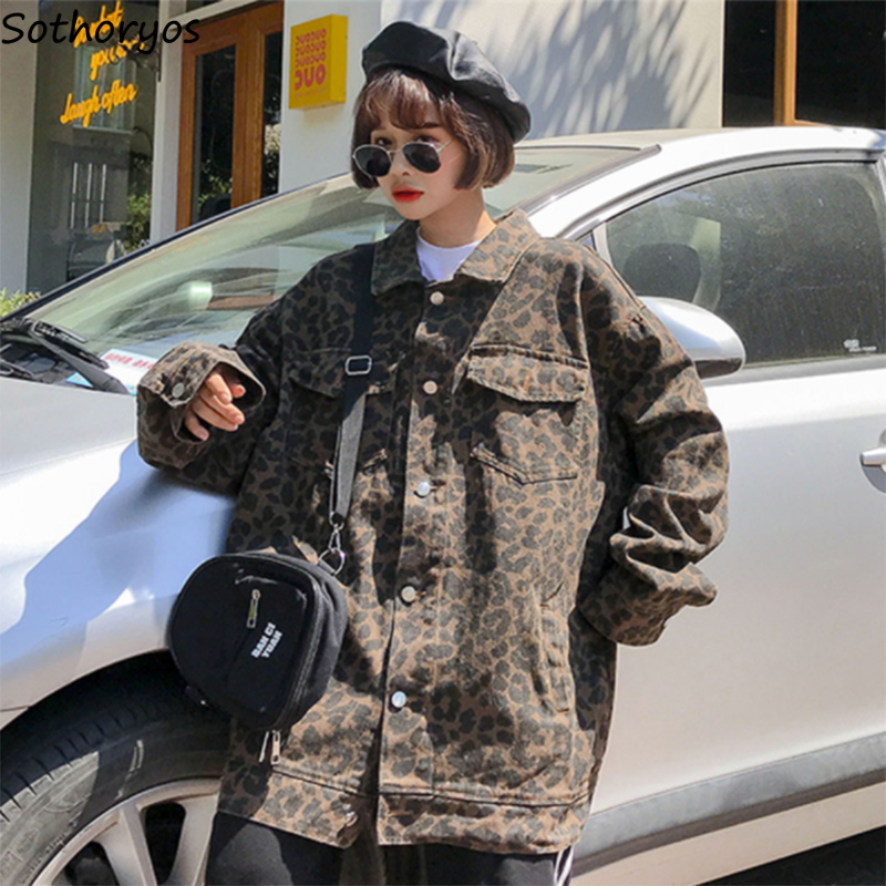 Jackets   Women Long Sleeve Turn-down Collar Pockets Leopard   Basic     Jacket   Womens Harajuku Ulzzang BF All-match Korean Style Coats