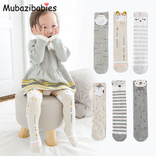 Mubazibabies Cotton Lovely Baby Long Sock Baby Knee High Sock Kids cartoon Animal Socks for 1-12y Baby Girl Clothes Accessories