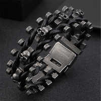Bracelets en cuir de charme de têtes de crâne multiples d'acier inoxydable de Punk pour les hommes Bracelet Vintage de motard et Bracelets livraison directe de bijoux