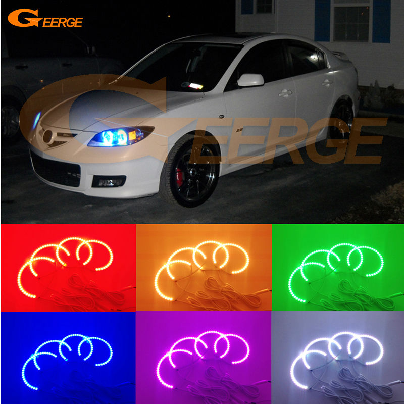 For Mazda 3 mazda3 2003 2004 2005 2006 2007 Excellent Multi-Color Ultra bright RGB LED Angel Eyes kit Halo Rings for acura tsx cl9 2004 2005 2006 2007 2008 excellent multi color ultra bright rgb led angel eyes kit halo rings