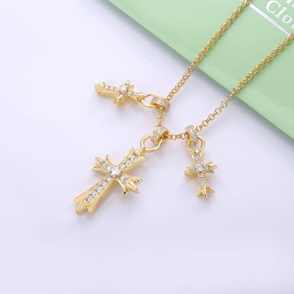 Slovecabin 100% 925 Sterling Argent Nouveau Design Japon Trois Croix Pendentifs Collier Un Zircon Pour Hommes Mode Or Couleur Bijoux