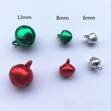 Прямая поставка, 100 шт, 6 мм, 8 мм, 12 мм, серебро, зеленый, красный, алюминиевые колокольчики, подвески, колокольчики, колокольчики, рождественские украшения, сделай сам, рукоделие