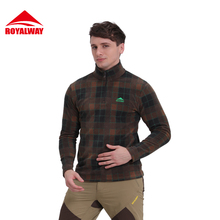 ROYALWAY Men Long Sleeve Male Shirt Outdoor Hiking Camping Loose Cotton New 2017 spring Free Shipping#RFLM3372E