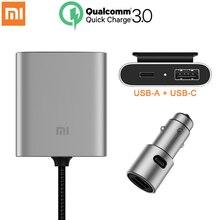 מקורי Xiaomi רכב מטען QC3.0 מהיר גרסה מורחבת אבזר USB A USB C כפולה יציאת פלט חכם