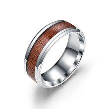 Anillos de boda de 8mm de madera y acero inoxidable para hombre, anillos de tamaño 2 para hombre, tamaño 6-14