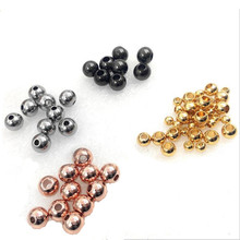цена на 2/3/4/5/6/8/10/12mm Silver Rose Gold Black Stainless Steel Spacer Loose Beads Ball Beads for Charm Bracelets DIY Jewelry Making