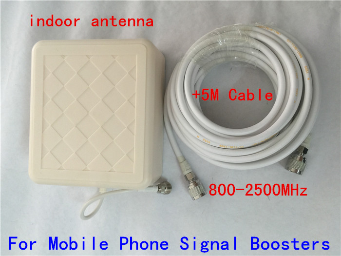 High Gain 9dBi Indoor Directional Panel Antenna With 5m Cable For Signal Repeater Booster , Gsm DCS CDMA PCS 2g 3g Antenna