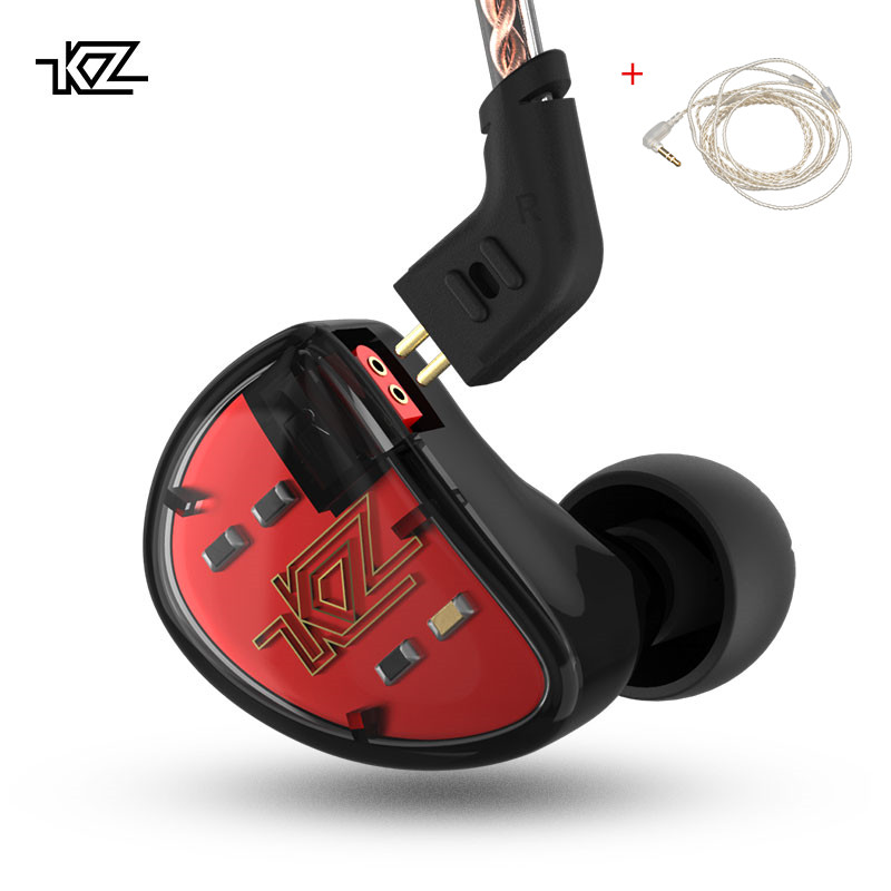 KZ AS10 Casque 5BA Armature Équilibrée Pilote HIFI Basse Écouteurs Dans L'oreille Moniteur Sport Casque Antibruit Écouteurs
