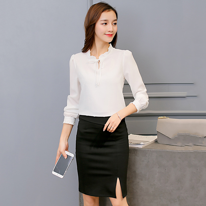Long Sleeve Shirt Women Clothing 2018 Autumn Fashion Slim Chiffon Blouse stand Neck Elegant Ladies Office Shirts plus size s-2XL