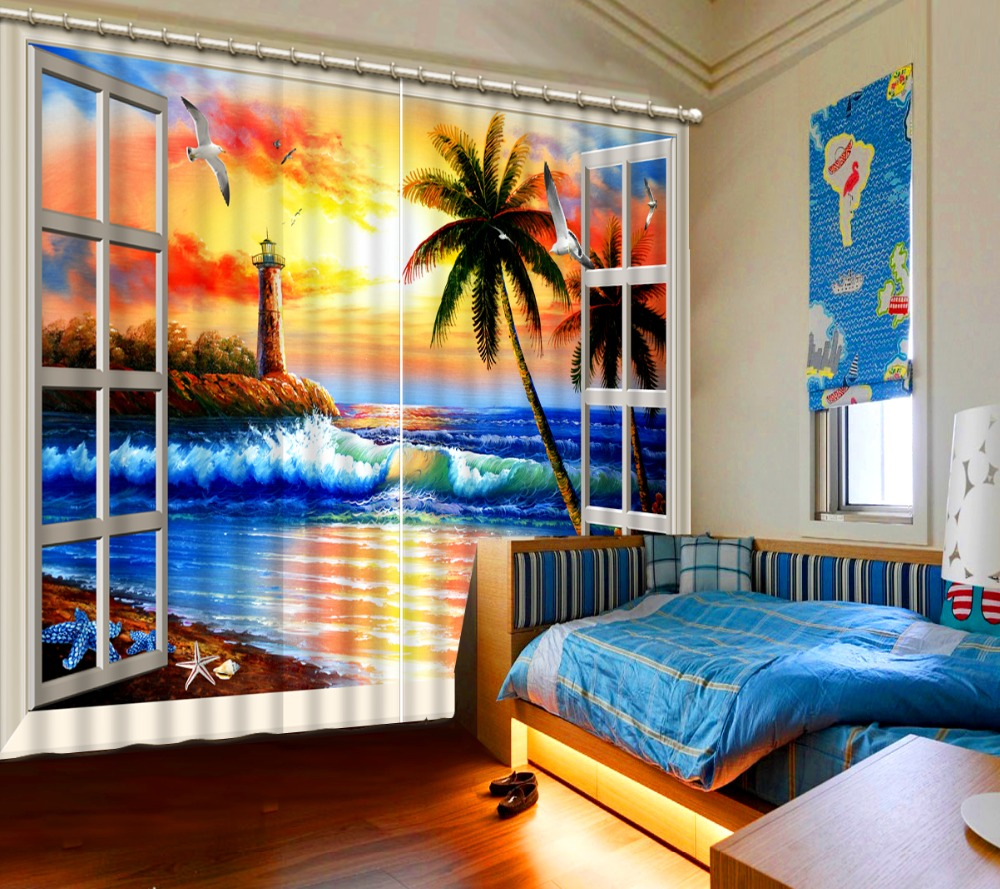 3D Curtain Blackout Shade Window Curtains Window Seascape Oil Painting Home Bedroom Decoration Custom Any Size3D Curtain Blackout Shade Window Curtains Window Seascape Oil Painting Home Bedroom Decoration Custom Any Size