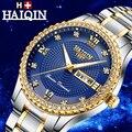 Мужские часы HAIQIN Бизнес Кварцевые бриллиантовые синие роскошные часы мужские водонепроницаемые модные спортивные часы из нержавеющей ста...