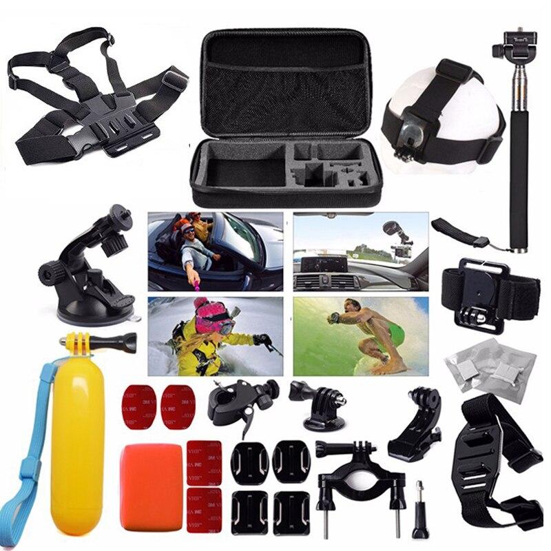 Livraison gratuite!! Set d'accessoires 30 en 1 sac/sangle de poitrine/trépied pour caméra de Sport GitUp Gopro Hero SJ4000 SJ5000 XiaoMi Yi