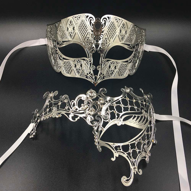 0db9bb8c85c9 Luxury Lover Woman Men's Mask Silver Metal Couple Venetian Masquerade Masks  Gold Ball Wedding Mardi Gras Party Eye Masks Set