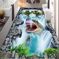 3d Wall Panel Custom 3d Flooring Self Adhesive Wallpaper Shark Falls 3d Floor Tiles Kitchen Waterproof