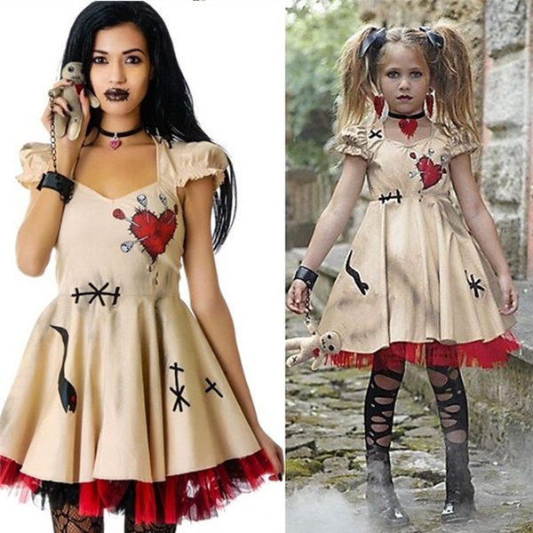 Fashion Women Girls Halloween Costume Voodoo Doll Costumes Witch Doctor Cosplay for Adults&Child Fancy Dress