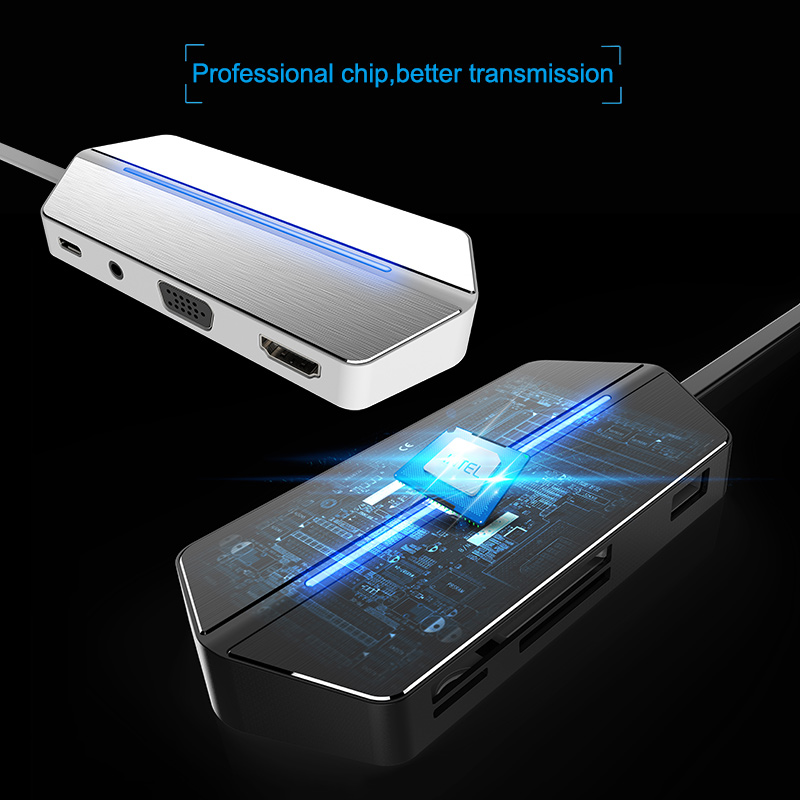 8in1 Type C HUB adaptateur vidéo w/HDMI Sortie VGA à TV Projecteur USB 3.0 3.5mm Audio De Charge CF SD/TF lecteur de cartes pour MACBOOK