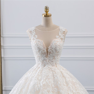 Image 4 - Fansmile New Vestidos de Novia Vintage Ball Gown Tulle Wedding Dress 2020 Princess Quality Lace Wedding Bride Dress FSM 522F