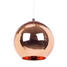 Modern Mirror Glass Copper Ball Pendant Lights For Bedroom Kitchen Living Room E27 220V Industrial Lighting Bar Lampara Vintage