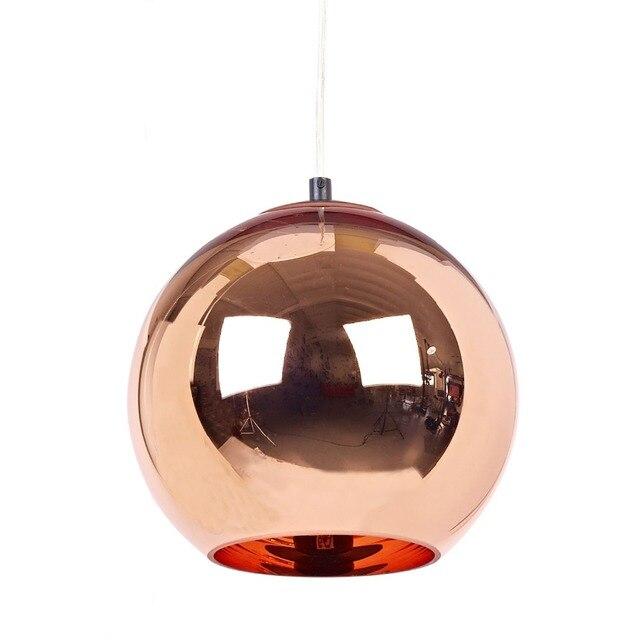 Moderno espejo de cristal Bola de cobre Lámparas colgantes para ...