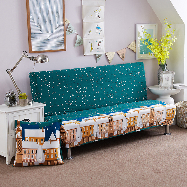 Universal size Armless Sofa Bed Cover Folding seat slipcover Modern ...