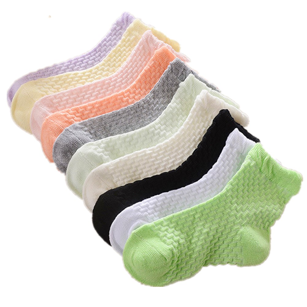 0-12 Years Children Socks 5 Pairs Breathable Baby Girls Hobby Sox Kids Anklets Boys Hose Pure Solid Socks For Girls Pure Solid 11