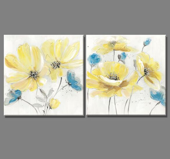 2 Piece European style yellow blue flowers oil painting Canvas ...