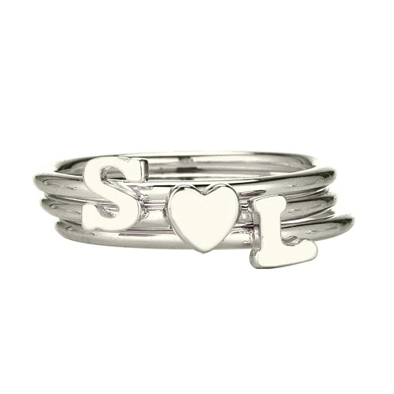 Gros personnalisé initiale pile anneau argent nom de famille initiale coeur bague ensemble minuscule amour anneau délicat bijoux