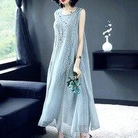 2018 Spring And Summer Women Dress Temperament Silk Dress Simple Sleeveless Pure Silk Dress