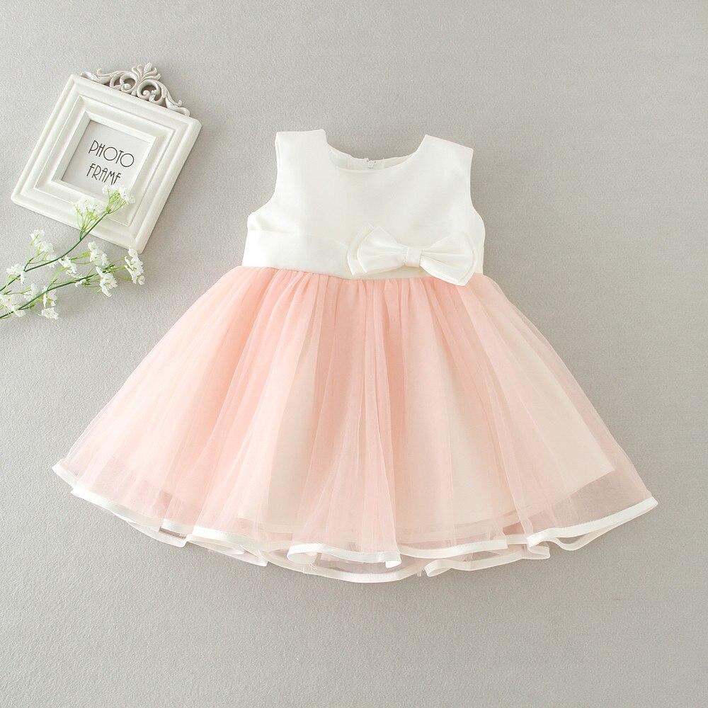 BBWOWLIN Baby Girl Christmas Dress Rosa Princess Dress Baby Girl Bows - Babykläder
