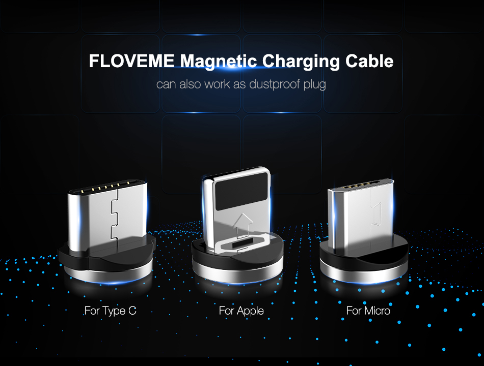 FLOVEME 1M Magnetic Charge Cable , Micro USB Cable For iPhone XR XS Max X Magnet Charger USB Type C Cable LED Charging Wire Cord 4