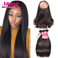 Pre Plucked 360 Lace Frontal Closure With Bundles Brazilian Virgin Hair With Closure,Human Hair 360 Lace Frontal With Bundle