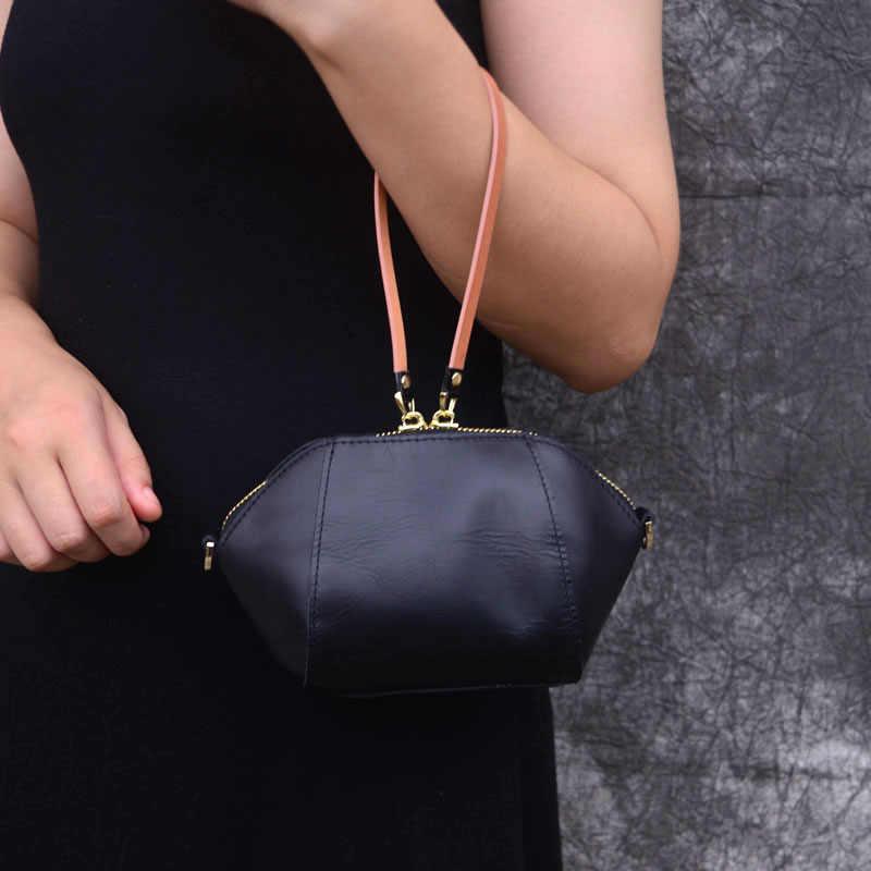 AETOO Lederen mini zacht lederen clutch bag top laag lederen dames kleine tas opslag pols zak mini bag purse