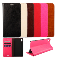 Luxury Real Genuine Leather Wallet Case For Sony Xperia M4 Aqua Dual E2303 E2333 E2353 Flip