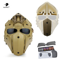 цена на Tactical Helmet Paintball Mask w/ Mesh Lens Goggle Professional Outdoor Bicycle Cycling Helmet Full Face Hunting Mask