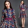 2015 mulher vestidos de alta qualidade da marca designer de moda de inverno e outono vestido do laço do vintage magro estiramento vestido elegante OM730
