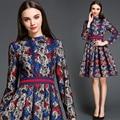 2015 vestidos de diseñador de la marca de moda de alta calidad de mujer de invierno y otoño vestido de encaje vintage delgado stretch vestido elegante OM730