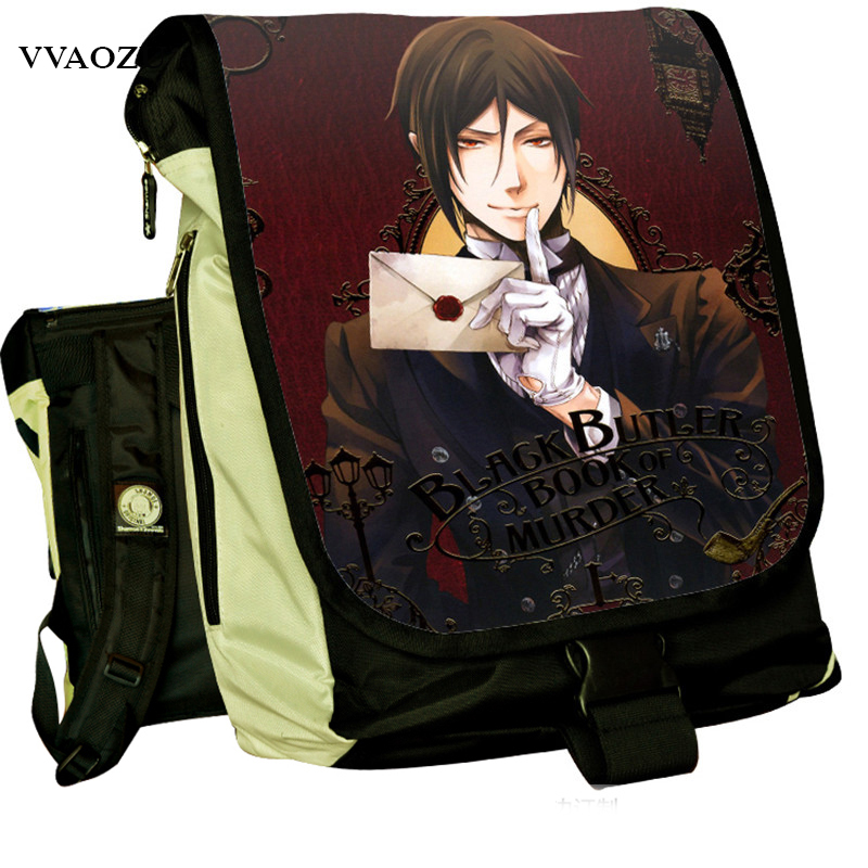 Anime Black Butler Backpack Kuroshitsuji Ciel Phantomhive Sebastian Comic School Bags Changeable Flap Cover Mochila Laptop Bags