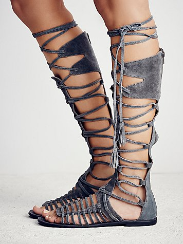 2016 summer new designer grey suede flat knee high sandal boots cross strappy lace up tassel long sandals cut-out women shoes apricot toe post strappy lace up flat sandals