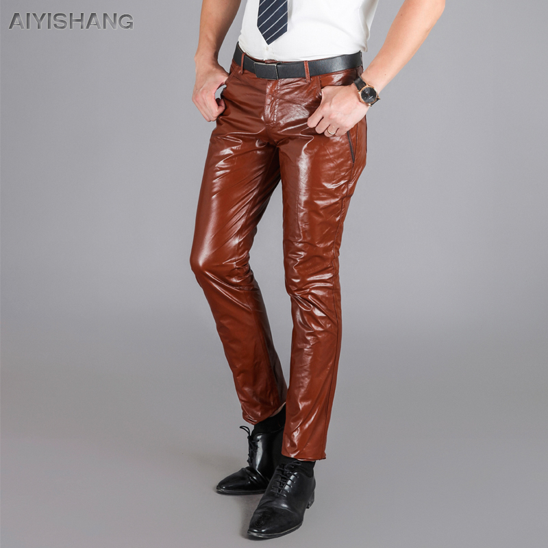 men casual leather pants full motorcycle trousers