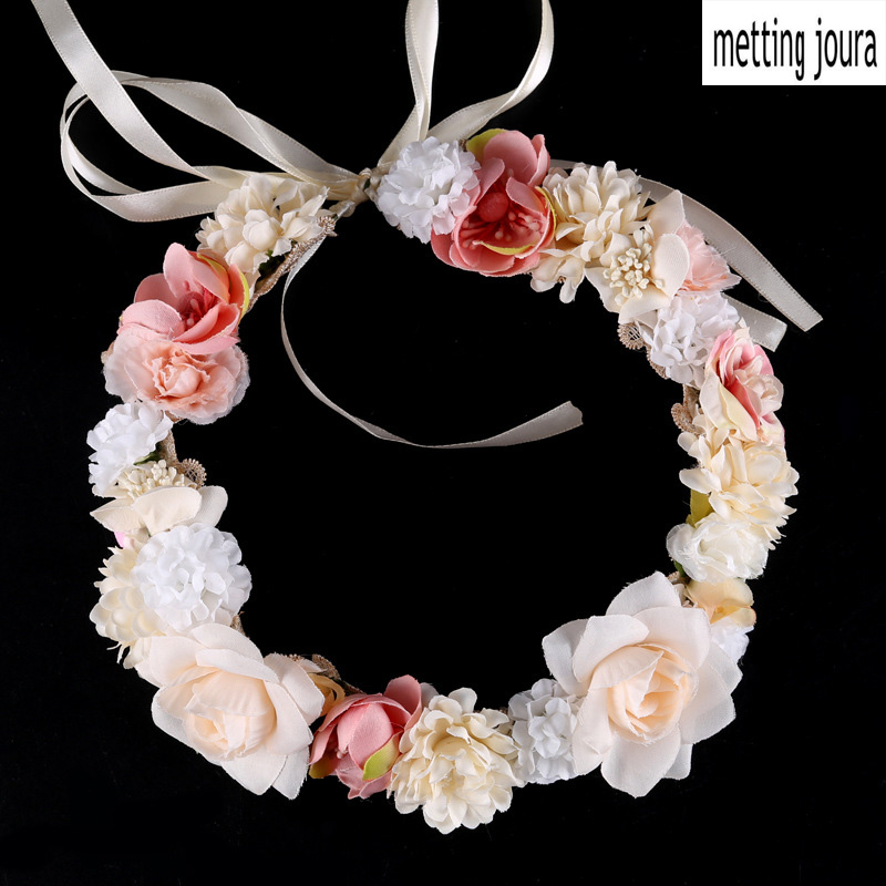 Metting Joura Wedding Bridal ChampagneBig Rose Flower Wreath  Hairband Headband Hair Jewelry metting joura vintage bohemian ethnic colored seed beads flower rhinestone handmade elastic headband hair band hair accessories