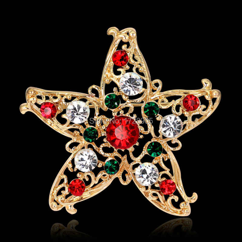Baru 49X49 Mm Satu Buket Natal Hijau Merah Bintang Starfish Bros Kristal Perhiasan untuk Pernikahan Berlian Buatan Pengantin Bros jarum Wanita
