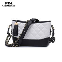 AMONCHY Hobo Bag Famous Brand Women Shoulder Bags Classic Grained Chain Messenger Bag Two-Tone Artificial Leather Lady Handbags two tone spliced tote bag
