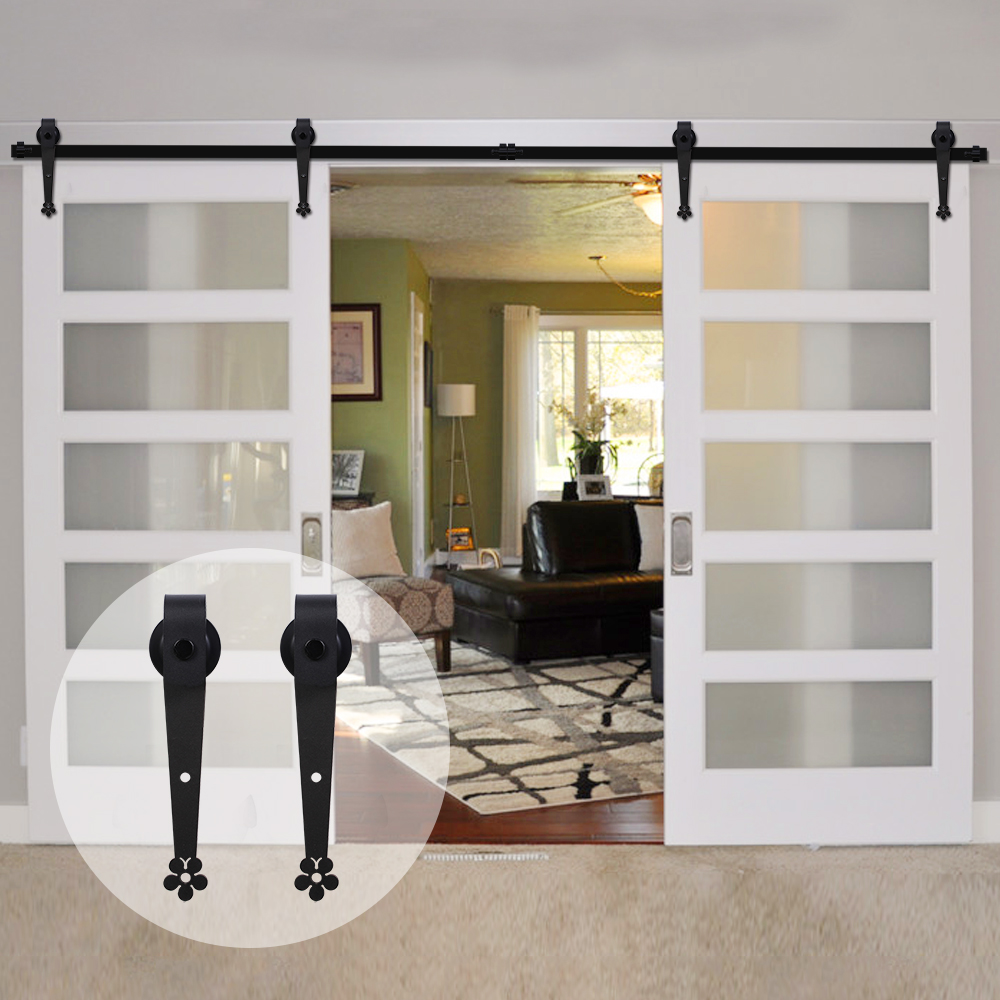 LWZH Classic Style Barn Door Hardware 7FT/7.5FT/9FT Black Steel Sliding Barn Door Plum Flow Shaped Track Roller for Double Door