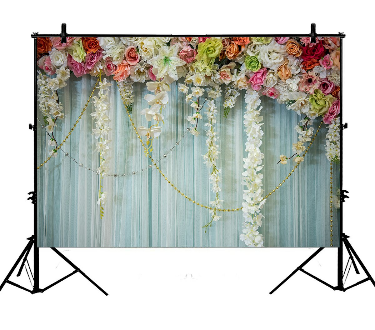 5x7ft Pale Blue Lace 3D Flowers Polyester Photo Background Portrait Backdrop