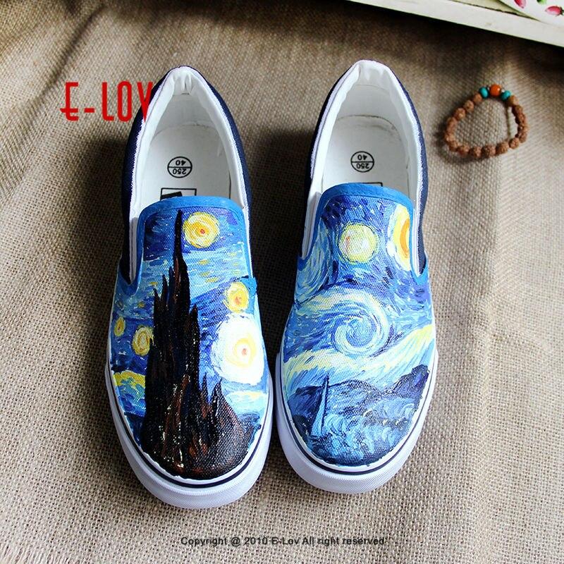 8299d7b3ca5f E-LOV 5 Lukisan Unisex Desain Khusus Tangan-dicat Kanvas Sepatu Pribadi  Pria Dewasa