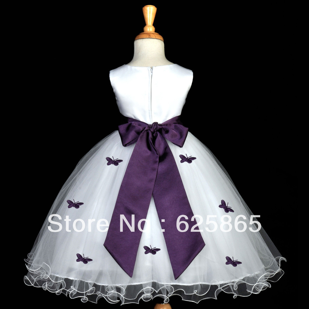 White Plum Purple Butterflies Pageant Flower Girl Dress 12m 18m 2 3t